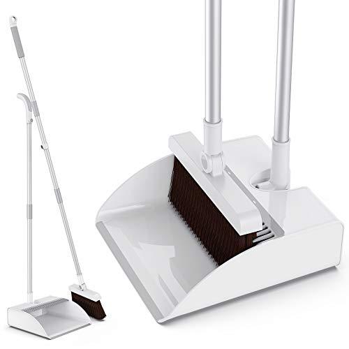 Besen und Kehrschaufel,Aiglam KehrBesen und Kehrschaufel mit langem Stiel,Aufrecht Besen und Kehrschaufel Set,für die Küche Zuhause Büro Fußboden Reinigung