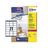 Avery Etiquetas autoadhesivas para dirección de correo (etiquetas de código de barras de Amazon FBA), impresoras láser, 21 etiquetas por hoja A4, 210 etiquetas, UltraGrip (L7160)