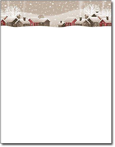 Snowy Winter Village Holiday Letterhead - 80 Sheets