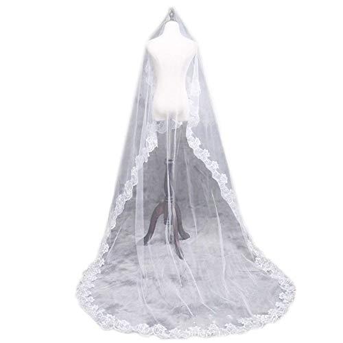 WFSDKN Bruidssluier, 1 laag, voor vrouwen, bruid, wit, extra lang, breed, geborduurd, zeshoekig, bloemen-, wandlamp, voor bruiloft, robuust, zonder kam, 3 300 cm