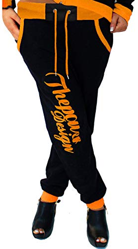 CinC Damen Jogginghose Trainingshose Sporthose Hose Neon Power Sweatpants H.516 (Schwarz-Orange 4XL)