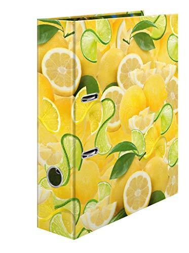 HERMA Archivador de anillas con palanca Frutas con motivo Limón, A4, 70 mm, con estampado interior, 1 carpeta con motivos