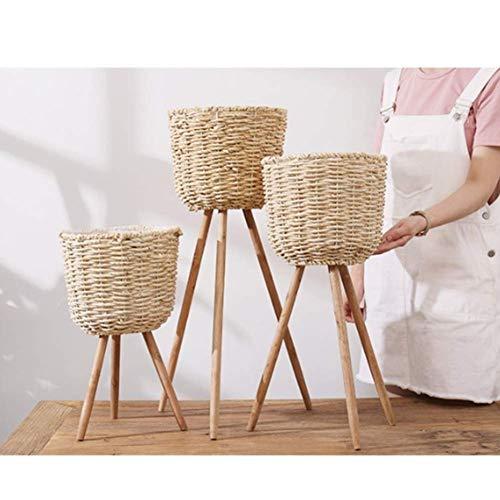 YUE 3 Piezas de bambú para macetas, cestas de Mimbre para macetas, Mimbre para Plantas Hecho a Mano con Soporte, para Plantas de Interior |Cestas de macetero de bambú y maíz con Soporte de Made