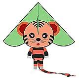 CALESON Enorme Cometa Tigre con Cuerda - Cometa fácil de Volar con Parque de la Playa - Actividades de Juegos al Aire Libre para niños y Adultos(Verde)