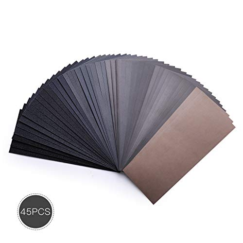 Schleifpapier, TACKLIFE 45-teiliges wasserfestes Nass- und Trockenschleifpapier, Körnung von 80 bis 3000, zum Polieren von Handwerks-, Holz-, Automobil-, Metall- und Kunststoffanwendungen - ASD07C