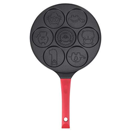 Haudang Padella, padella antiaderente per pancake, padella per crepe Maker, 7 forme di pancake con manico in silicone, colore: nero