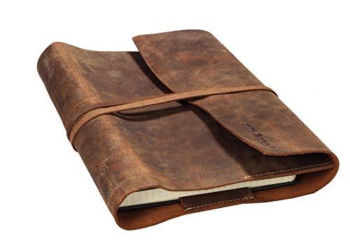 Echt Leder - Vintage Buchumschlag aus Leder l Notizblock l Lederhülle DIN A5 l Ledereinband A5 I Notizbuch aus Leder l Tagebuch Vintage I Geschenk Idee I Reise-Tagebuch l 23x17x2cm