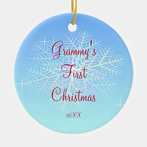 Personalized Grammy's First Christmas Snowflake Ornament 3 Ihch Ceramic Ornament