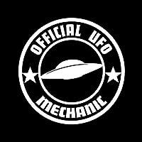 バンパーガラスステッカー 18cm X18cmカースタイリング人格公式UFOマシンメカニック面白い車のステッカー (Color : White)