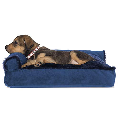 Furhaven Pet Dog Bed - Plush Faux Fur & Velvet L Shaped Chaise Lounge Pillow Cushion Sofa-Style Living Room Corner Couch Pet Bed w/Removable Cover for Dogs & Cats, Deep Sapphire, Small