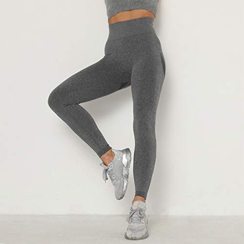 AKEFG Leggings de Entrenamiento para Mujer, Pantalones de Yoga de Cintura Alta a Prueba de Sentadillas, Control de Abdomen de Cintura Alta Suave y mantecosa,Szary 2,S
