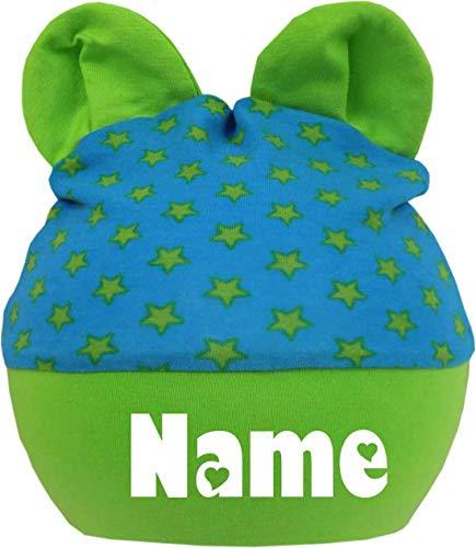 KLEINER FRATZ Kinder Baby Mütze mit Ohren Jungen Mädchen Babymütze Hat mitwachsend mit Namen des Kindes (Gr.2 (KU 39-53) (Gr. 68-98), royal-lime)