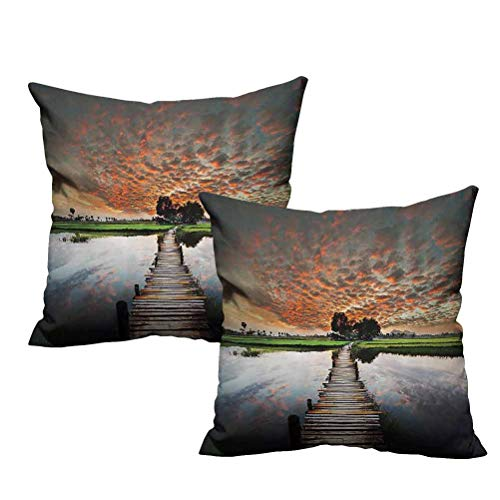 Two Piece Throw Pillow Old Boardwalk on Tropical River to The Fresh Meadow in The Dusk Burma Myanmar 18'x18',Double-Sided Printing