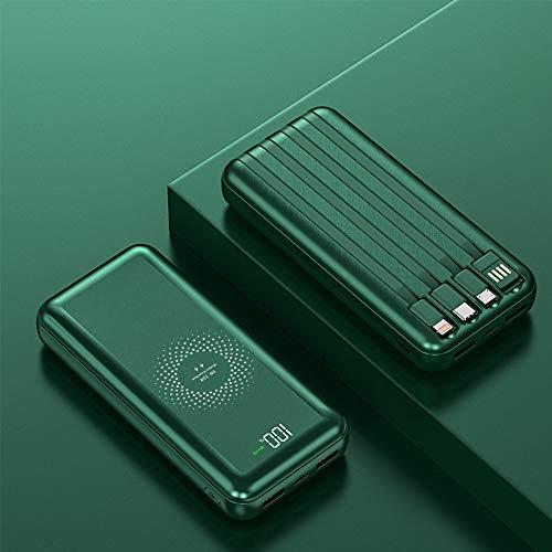 LIAWEI Banco de energía, cargador portátil de 10000 mAh, carga inalámbrica con 4 cables desmontables incorporados, tipo C, micro cables compatibles con iPhone, Samsung y otros teléfonos móviles