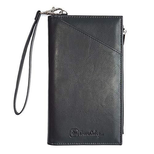 TraveLubes Wallet RFID portemonnee paspoort-hoes reis-organizer ID-tas map paspoort-etui paspoort-etui paspoorttas | portemonnee | heren/dames | kunstleer (zwart)