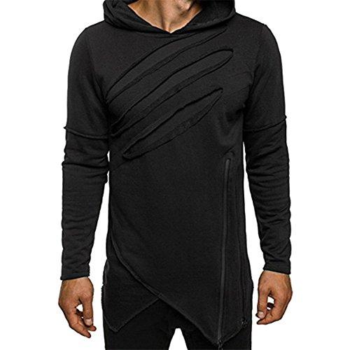 Btruely Herren Pullover Hoodies Hipster Hooded Sweater Langarm Sweatshirts Outwear Jacket (L, Schwarz)