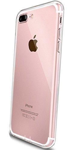 COVERbasics Cover Compatibile con iPhone 7 Plus 8 Plus (PROCAM 0.33mm) Custodia Trasparente con Bordo Proteggi Fotocamera e Tappo Antipolvere in Silicone Gel TPU Slim