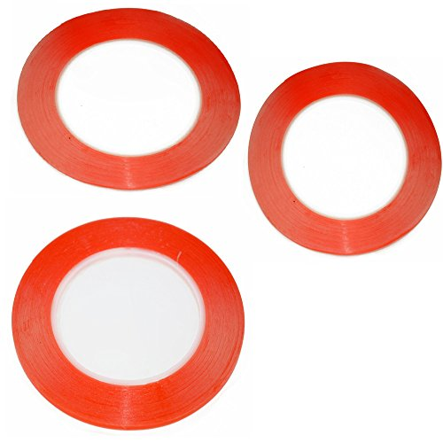 3pcs Mixed Size apiece 25 Meters 1mm 2mm 3mm 3M Double Sided Tape Sticky Red for Mobile Phone LCD Pannel Display Screen Repair Housing
