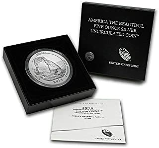 2014 P America the Beautiful (ATB) 5 Oz Silver Arches Utah - Gem Uncirculated with Original Box and COA US Mint