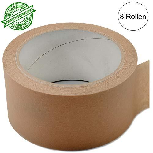 8 Rollen Papier Klebeband Paketband Packband 50m X 50mm umweltfreundlich mit Kautschuk Kleber braun