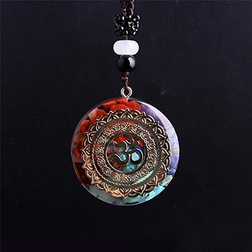 ZYAO Sri Yantra Colgante Collar Orgonita 7 Chakra Cristal Colgante Energía de Alta frecuencia Colgante para Crecimiento Riqueza Talismán