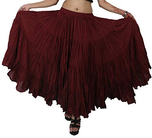 Wevez Women's Belly Dance Cotton 12 Yard Skirt (Maroon)