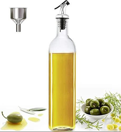 Oliera Bottiglie Vetro, Oliera Salvagoccia Bottiglie Vetro 500ml Dosatore Olio Mantiene l'olio Fresco più a Lungo per la Cucina di Casa