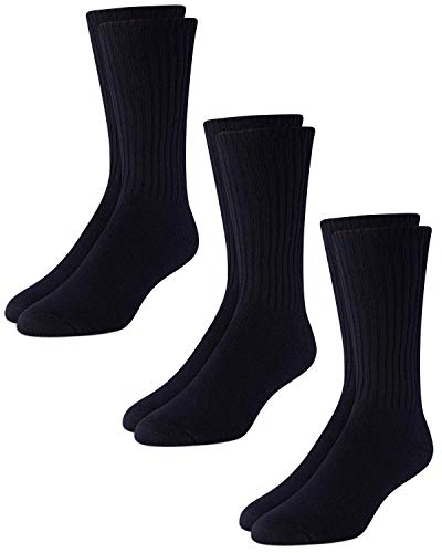 Calvin Klein Men's 3 Pack Cotton Rich Casual Rib Sock, Navy, Shoe Size 7-12