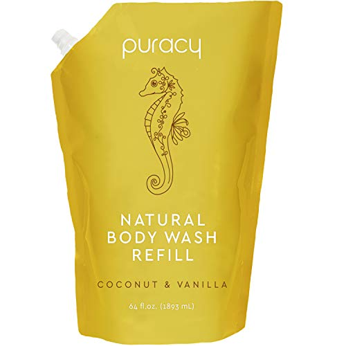 Puracy Natural Shower Gel Refill, Coconut & Vanilla, 64 Ounce, Plant-Powered Body Wash for Smoother, Clearer Skin