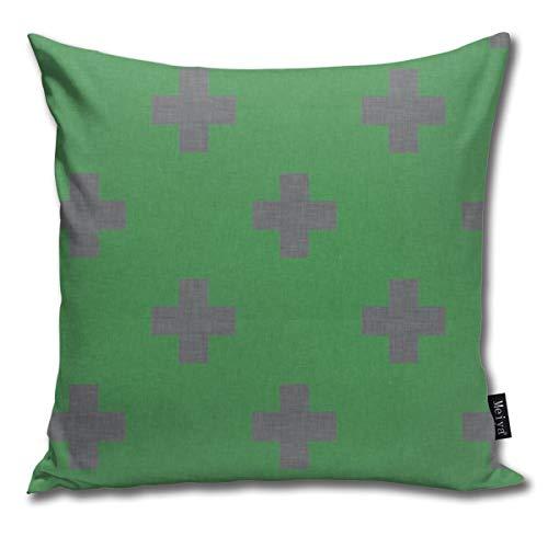 Rasyko Plus - Funda de cojín decorativa para cama de coche, color verde y gris