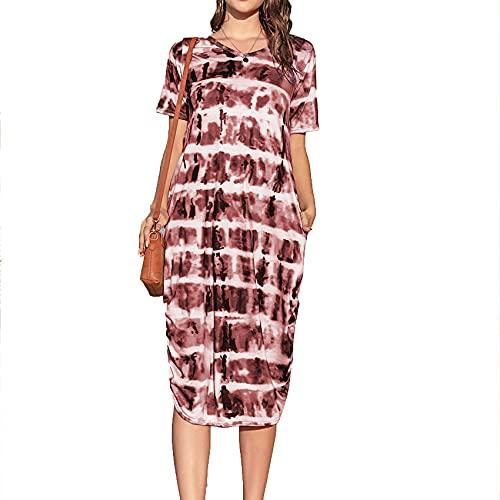 Primavera Y Verano Mujer Casual Suelta Tie-Dye ImpresióN Falda Larga Jersey con Cuello En V Vestido De Manga Corta Mujer