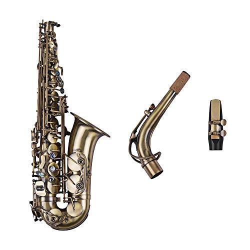 HYLH Antikes Finish Es-Dur Altsaxophon Saxophon Muschelschlüssel Schnitzmuster Holzblasinstrument mit gepolstertem Koffer