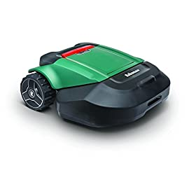 "Robomow RS622 Battery Powered Robotic Lawn Mower Medium Yard, 22 inch Cutting Width, Green 4 MEDIUM YARD CUTTING PATH: Dual blade, and 22"" cutting width ensures an efficient and effective cut in larger yards up to 1/2 acre (21,780 square feet) and inclines up to 20 degrees MOWS IN DIFFERENT ZONES: Can be easily be wired to automatically travel to different zones within your yard, returning to the base station after completion PERSONALIZED WEB APP: New for 2019! With Bluetooth connectivity the new My Robomow app lets you manage your mower from any place, any time"