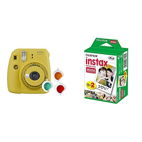Fujifilm Instax Mini 9 - Cámara instantanea, Solo cámara, Amarillo + m Instax Mini Brillo - Pack de 40 Películas Fotográficas Instantáneas (40 Hojas), Color Blanco