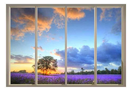 """wall26 Window View of Tree in a Field of Purple Flowers - Wall Mural - 100""""x144"""""""