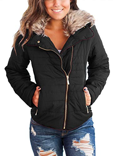 Dokotoo Womens Coats Fashion Casual Ladies Winter Faux Fur Collar Zip Up Open Front Quilted Puffer Jacket Coat Outerwear with Pockets Black Medium