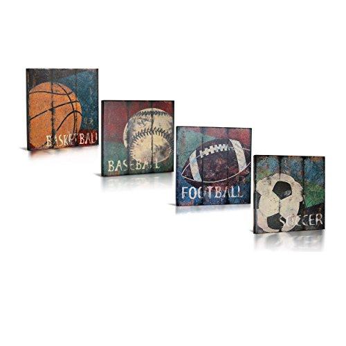 Green Frog Sports Themed Canvas Wall Art | Boys Bed Room Décor| Kids Room | Vintage Art | Baseball, Basketball, Soccer, Football | for Sports Room