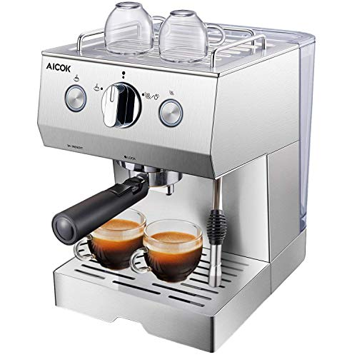 Aicok Cafetière Expresso, Machines à Café Expresso professionnelle 1140W avec Pompe 20 bar, Mousseur à Lait, 1.5 L Amovible Réservoir D'eau, Fonction de Chauffage, Acier inoxydable