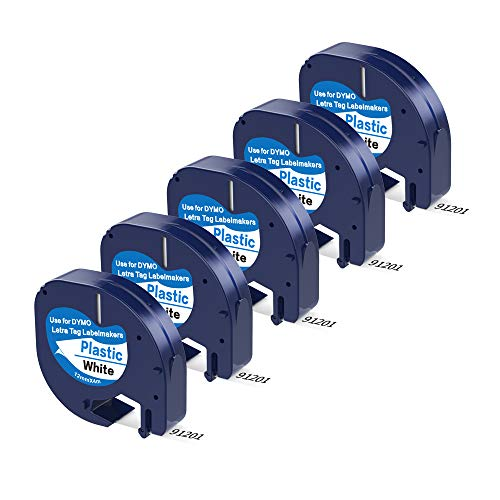 Camopro Compatible Label Tape 5 Pack Replace Dymo Letratag Refills Plastic Label Tape 91331 (S0721660), Black on White for DYMO Label Maker LetraTag LT-100H, LT-100T, LT-110T, QX50, 1/2 Inch x 13 Feet
