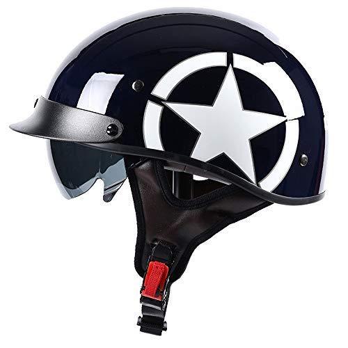 Helmets Casco para Moto   Jet Casco Sprint  con Gafas de Piloto,Certificación ECE Cascos Scooter Universal para Moto Medio Casco Abierto Casco de protección para Motocicleta (57-58)