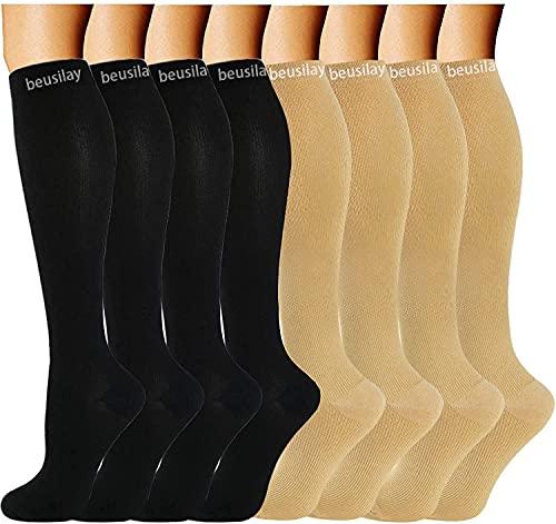 beusilay 8 Pares Calcetines De Compresión Para Mujeres Y Hombres- Ideal Para Médicos, Circulación Y Recuperación, Enfermería, Viajes Y Vuelo, Correr Y Fitness (15-20 mmHg), color carne, L-XL