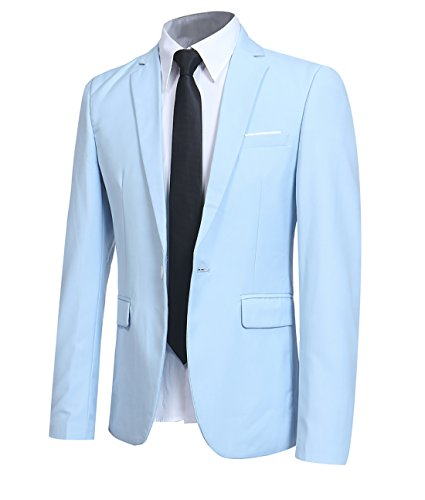 YFFUSHI Men' Slim Fit One Button Blazer Jacket Casual/Party Sport Coat,Medium,Light Blue