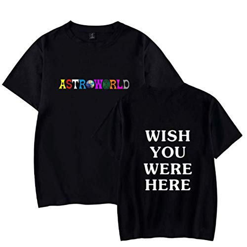 Herren Frühling Sommer Casual Kurzarm Rundhalsausschnitt Travis Scott Astroworld Regular Fit T-Shirt Tops schwarz L