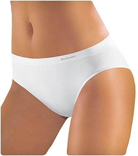 BELLISSIMA Slip Donna in Microfibra Elasticizzata Art. 014 Senza Cuciture - Offerta Confezione da 5 Slip Assortiti (2 Bianco, 2 Nero, 1 Naturale)