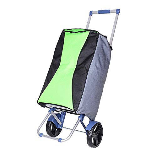 LIZANAN Trolley Folding Aluminum Alloy Color Waterproof Matching Cloth Bag Shopping Cart Lightweight Climbing Trolley Cart with 2 Big Wheels Make Your Life Easier (Color : Multi-colored, Size : Free