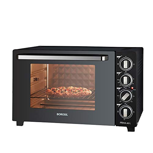 Borosil - Prima 60 L OTG, with Motorised Rotisserie and Convection, 2000W, 12 Stage Heat Selection, Black
