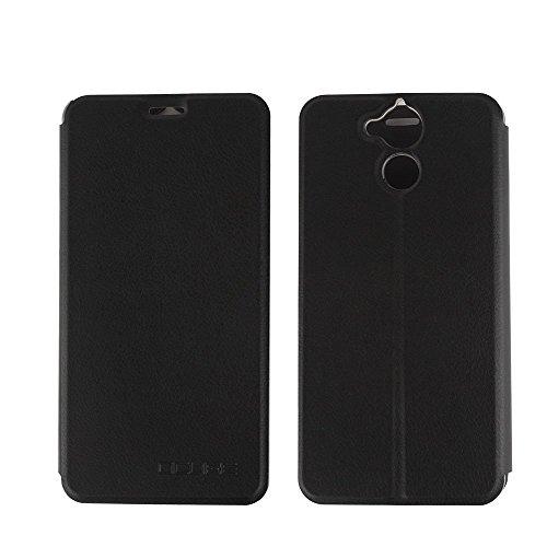 Ycloud Tasche für Blackview P2 Lite Hülle, PU Ledertasche Metal Smartphone Flip Cover Hülle Handyhülle mit Stand Function Schwarz