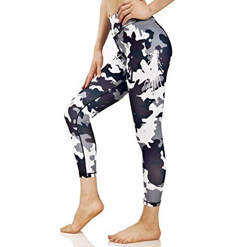 Chicholic Yoga Pants for Women Workout Leggings Power Flex Pants with Hidden Pocket (L, White)
