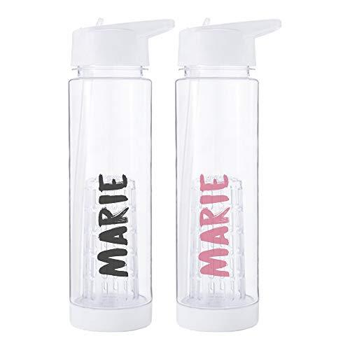 deinzigartig 2er Set: #Lieblingsflasche Joy - Identity Design - Wasserflasche mit deinem Namen - kostenlose Personalisierung - Trinkflasche für Infused Water