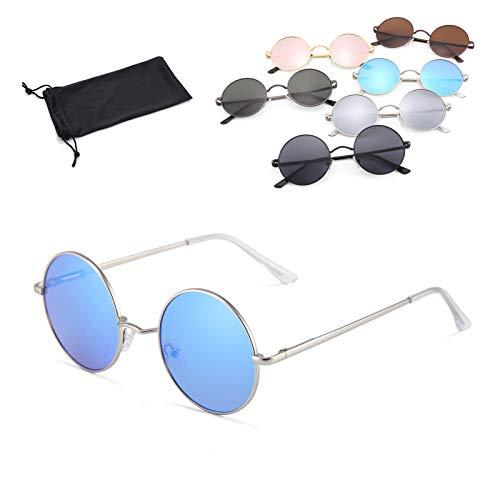 Netrox Sonnenbrille Sonnen Brille Sonne Brillen rund oval eckig Vintage Retro oldschool Cool schwarz braun silber blau rosa pink rot (silber - blau verspiegelt)
